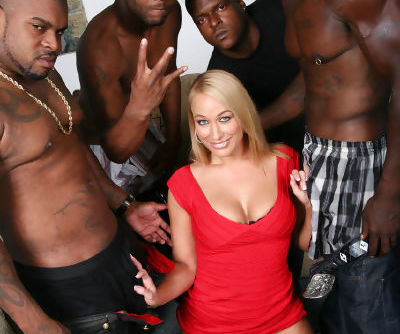 Smiley blonde Mellanie Monroe takes on three big black cocks for a cum facial