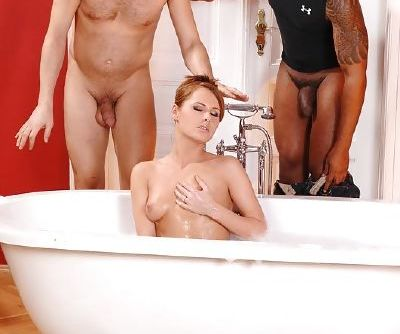 Sexy redhead giving blowjobs and taking huge cocks in her hairy pussy