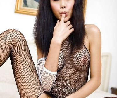 Nasty Thai tranny Wawa showing off her big tits and rubbing her hairy pussy
