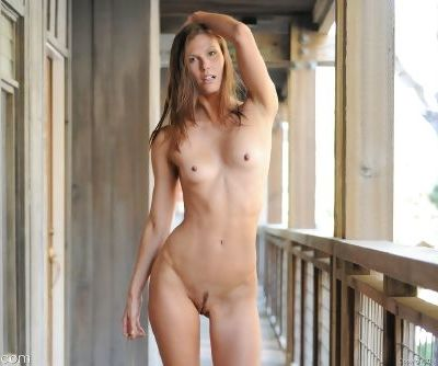 Thin college girl flashes her pussy on boardwalk before getting naked indoors