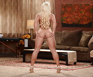 Blonde mom Cali Carter showing off her nice ass and perky tits