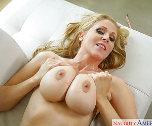 After a hot shower Busty mom Julia Ann treats herself to a warm cock