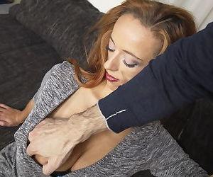 Older redhead mom lets her lover pull out her big natural tits from dress