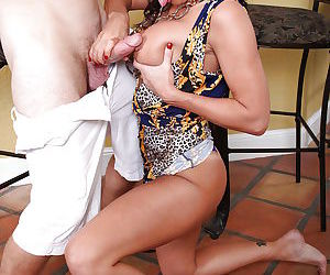 Latina mom Lezley Zen is licking and sucking this tasty prick