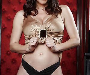 Brunette mom RayVeness strips off sexy black underwear to bare bald cunt