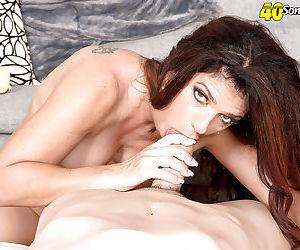 Over 40 MILF Valentina Rosario giving blowjob and handjob for cumshot