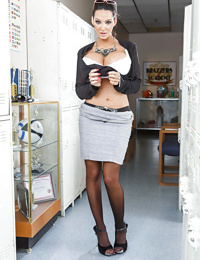 Hot and busty teacher Amy Anderssen gets wet in a locker room