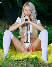 Hot blonde Genevieve Gandi takes a break from badminton game to show her pussy