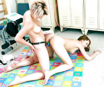 Lusty teen babes stripping and having lesbian fun with their toys