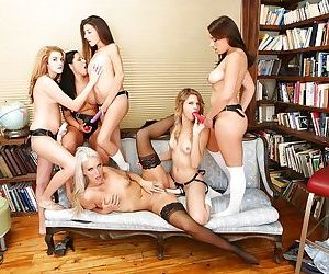 Tongues and toys used in a hot lesbian orgy that gets out of control