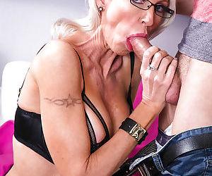 Mature blonde teacher Emma Starr sucks and fucks her horny student