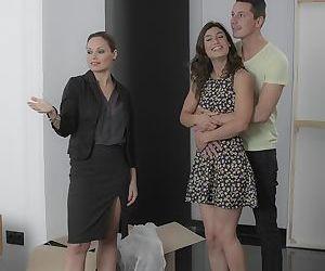Horny moms Silvia Lauren and Julia Roca stack asses for 3some cumshot