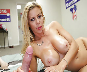 Busty blonde mom gives titjob and handjob in office for cumshot