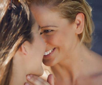 Busty MILFs Cherie DeVille and Dani Daniels having lesbian sex outdoors