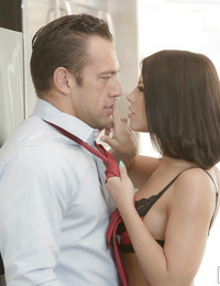 Hot stocking attired wife Adriana Chechik giving hubby bj in high heels