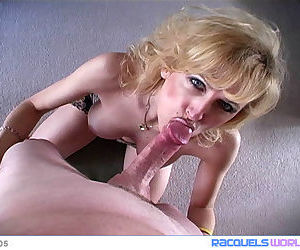 Horny mature Racquel Devonshire bends over before taking a mouthful of cum