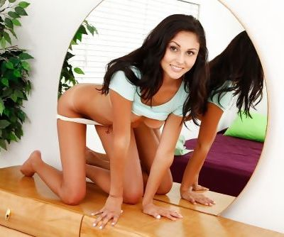 Cute young girl Ariana Marie looking delectable in white panties