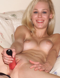 Blond chick Phoenix Ray slips a vibrator and fingers into her shaved pussy
