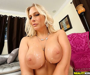 Busty skillful mommy Angel Allwood is banging with young hunk