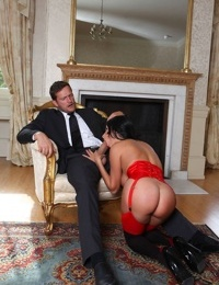 Dark haired pornstar Anissa Kate takes a huge cock up her willing asshole