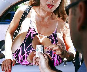 Buxom older Asian lady Minka taking hardcore cumshot on huge knockers