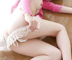 Sweet asian babe with sexy legs Kyoko Nakajima showcasing her tiny curves
