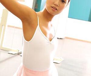 Japanese ballerina Ruri Kinoshita stretches her young body in tights & tutu