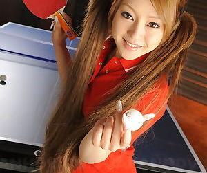Stunning Japanese weetie Ria Sakurai lifts her sweater to display tiny titties