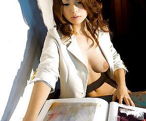 Stunning asian babe Azumi Harusaki slowly uncovering her graceful body