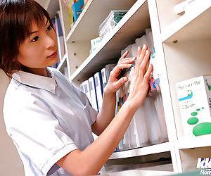Stunning asian nurse Fuuka Sasaki gives a blowjob and gets bonked