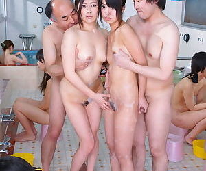 Young Japanese girls Asakura Kotomi & Jun Sena parade nude for oldman orgy