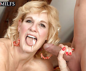 Over 50 blonde MILF Molly Maracas taking hardcore doggystyle sex after bj