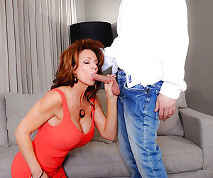 Salacious mom fucks her sons best friend for cum on her huge boobs