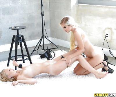 Real life blonde lesbians Lily Rader and Naomi Woods tongue kissing