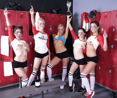Penelope Reed and her female teammates have an all girl orgy in locker room