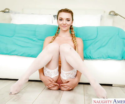 Teen solo girl Molly Mae masturbating in stockings and pigtails