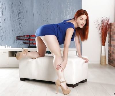 Redheaded Euro babe Amarna Miller spreading hairy snatch in high heels