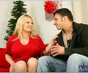 Busty mom Rachel Love having sex and taking cum on her fat tits