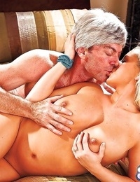 Chubby blonde pornstar Bree Olsen giving blowjob to an older man