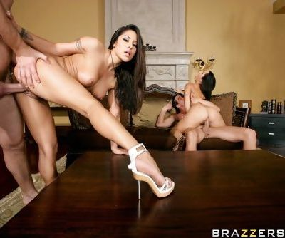 Hot wives Jenaveve Jolie and Jayden Jaymes seduce two guys for an orgy
