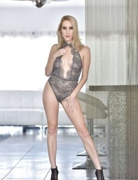 Sexy blonde model Cadence Lux rips off her sheer lingerie to pose nude