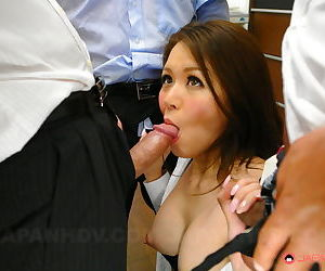 Sexy Asian woman sucks coworker cock & gets a sticky creampie in office 3some