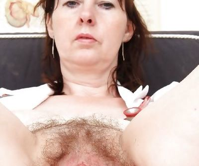 Brunette slut with a hairy pussy Blanka spreading her tight hole