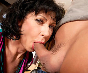 Aged brunette lady finds herself a boy toy for hard sex games in the afternoon