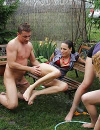 Lustful pornstar Rachel Evans is into group CFNM action outdoor
