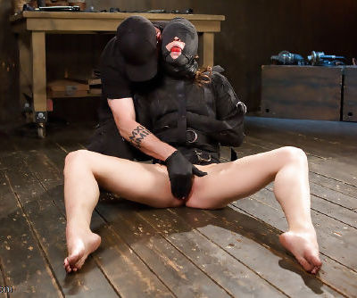 Bondage model Lily LaBeau is bound and abused with ball gag in mouth