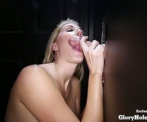 Kimbers first time glory hole visit makes her swallow multiple cumshots