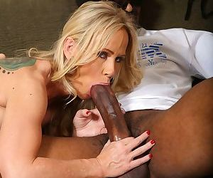 Mature Simone Sonay and her stepdaughter Miley May have fun with black lover