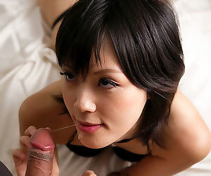 Japanese beauty Yuuki Ryo gently sucks the sperm from a cock