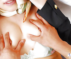 Submissive asian lady in stockings gets undressed and roughly fucked